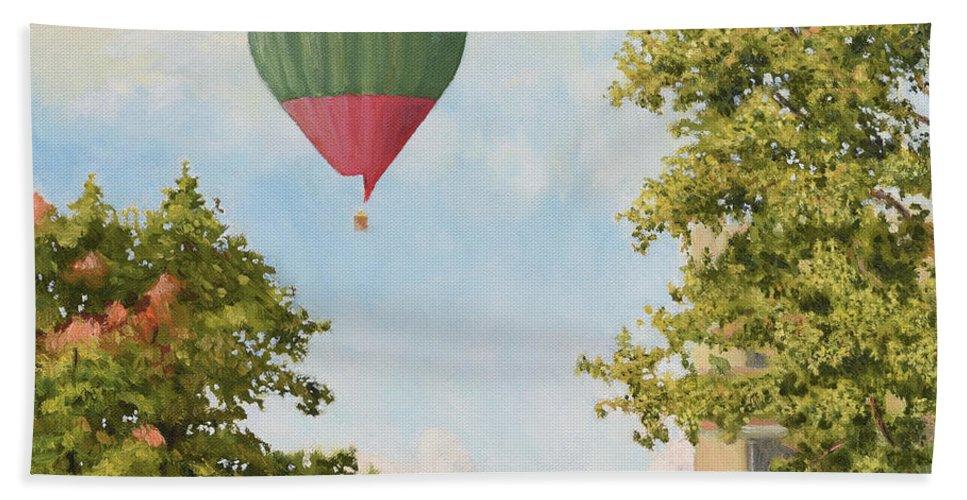 Sky Hand Towel featuring the painting The View From The Window by Oleg Konin