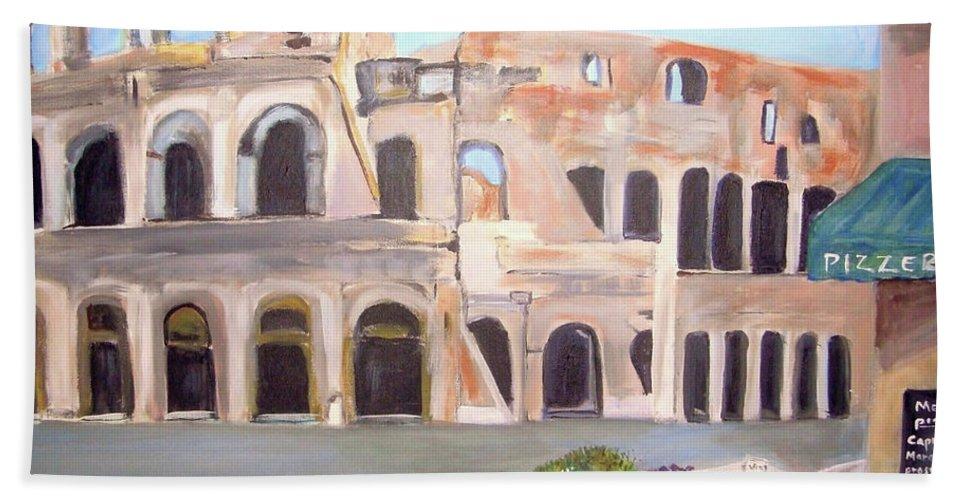 Cityscape Bath Towel featuring the painting The View Of The Coliseum In Rome by Teresa Dominici