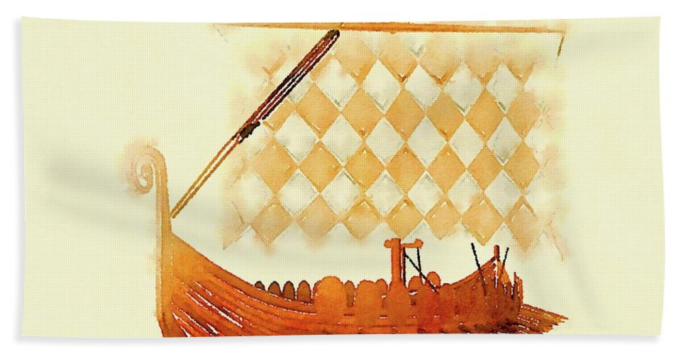 Viking Hand Towel featuring the painting The Viking Ship by Pierre Blanchard