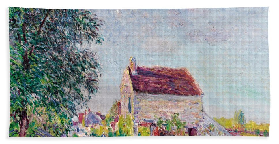 Alfred Sisley Hand Towel featuring the painting The Village Of Sablons by Alfred Sisley