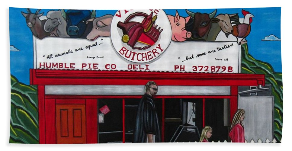 Buildings Bath Sheet featuring the painting The Village by Sandra Marie Adams