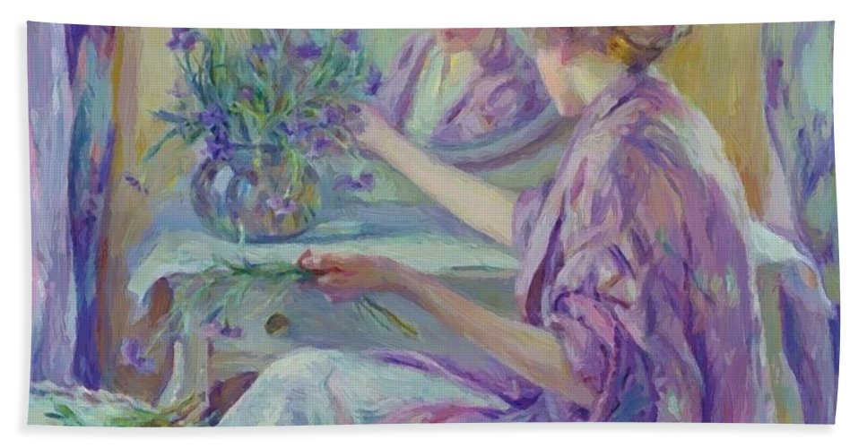 The Hand Towel featuring the painting The Violet Kimono 1911 by Reid Robert Lewis