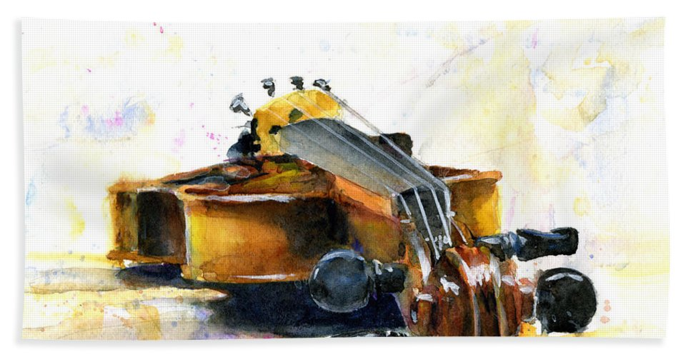 Violin. Watercolor Hand Towel featuring the painting The Violin by John D Benson