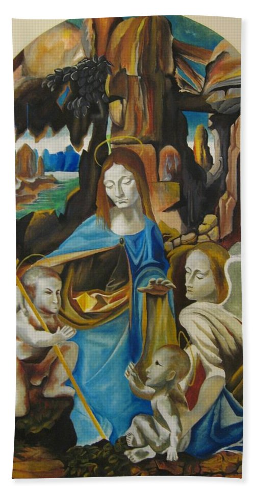 Hand Towel featuring the painting The Virgin Of The Rocks by Ronnie Lee