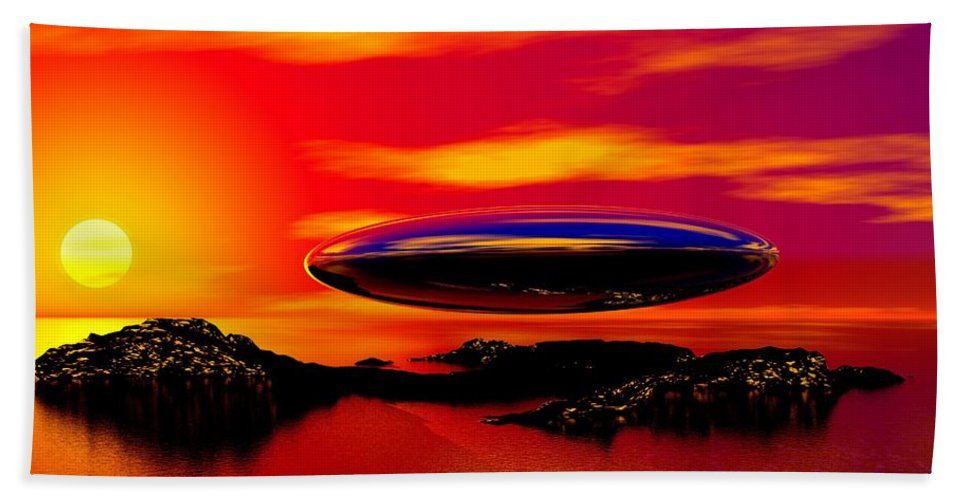 T Bath Sheet featuring the digital art The Visitor by David Lane