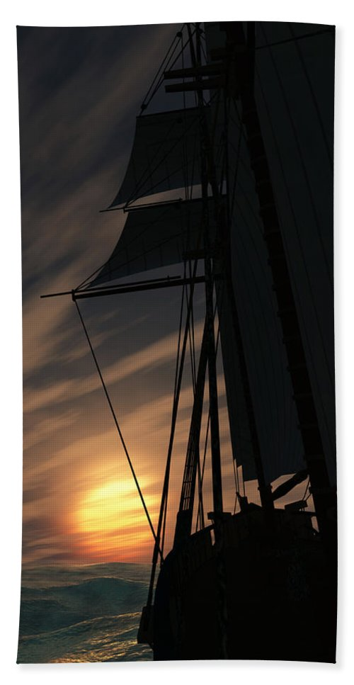 Ships Hand Towel featuring the digital art The Voyage Home by Richard Rizzo