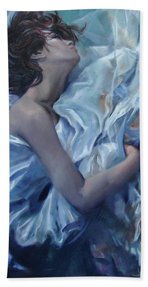 Ignatenko Bath Towel featuring the painting The waiting for the spring by Sergey Ignatenko