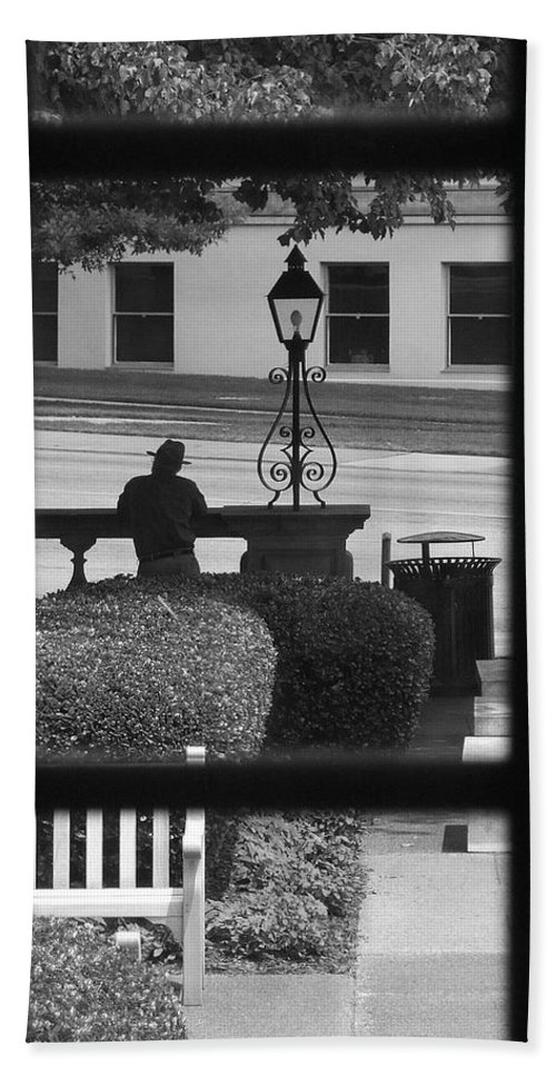 Black And White Hand Towel featuring the photograph The Waiting Room by Robert Meanor