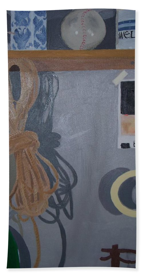 Still Life Bath Sheet featuring the painting The Multi Lit Wall by Rosanne Bartlett