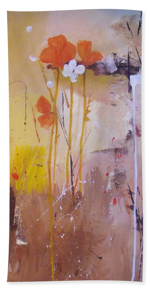 Abstract Hand Towel featuring the painting The Wallflowers by Ruth Palmer