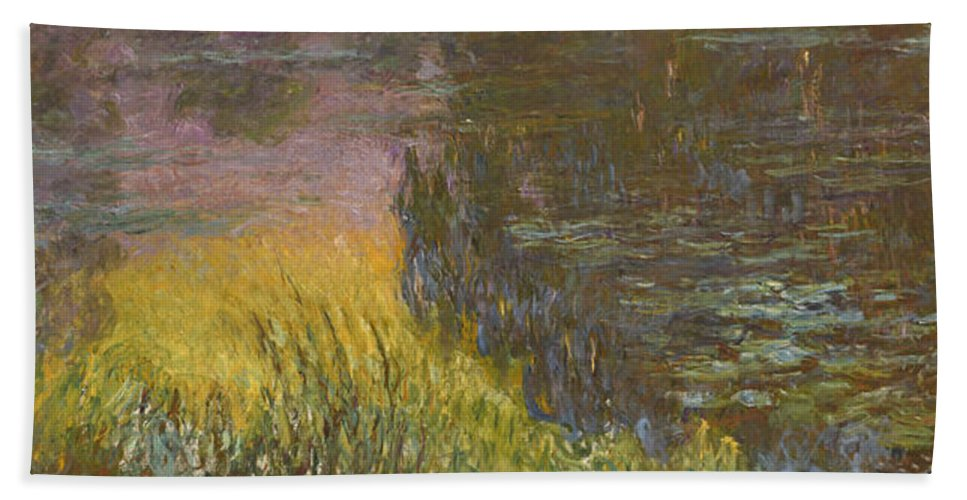 Claude Monet Hand Towel featuring the painting The Water Lilies, Setting Sun by Claude Monet