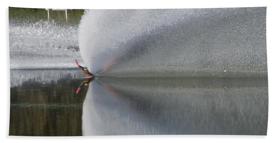 Waterskiing Bath Sheet featuring the photograph The Water Skier by Steven Natanson
