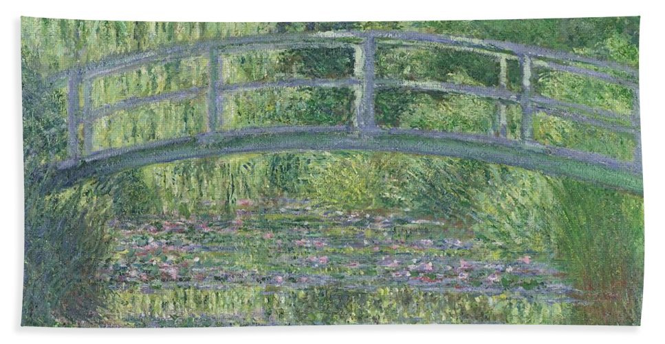 The Bath Towel featuring the painting The Waterlily Pond by Claude Monet