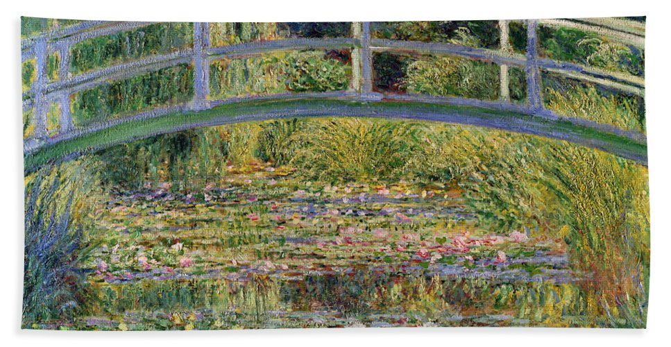 The Bath Towel featuring the painting The Waterlily Pond with the Japanese Bridge by Claude Monet