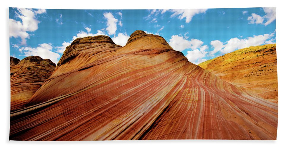 The Wave Bath Towel featuring the photograph The Wave Arizona Rocks by Norman Hall