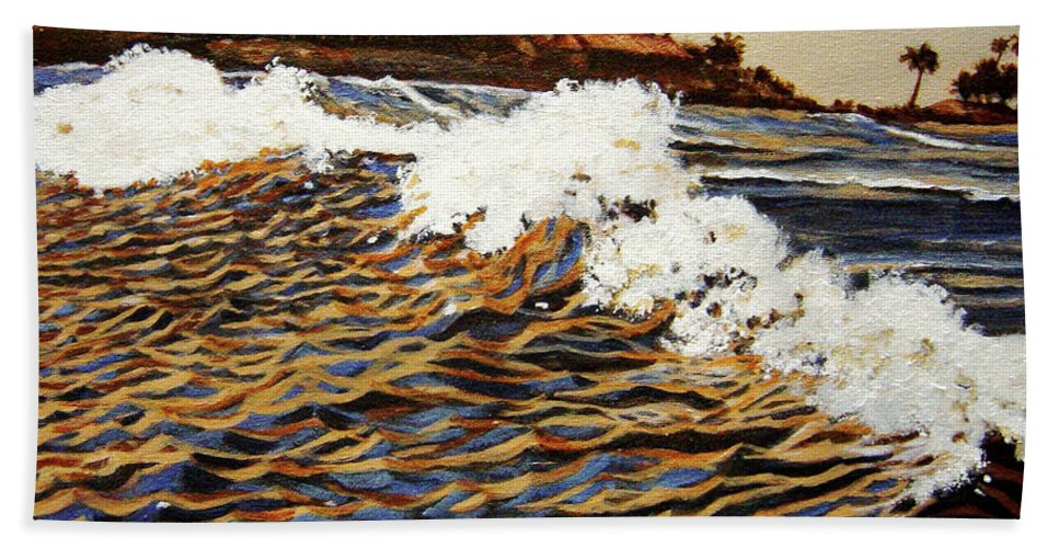 Wave Bath Towel featuring the painting The Wave by Usha Shantharam