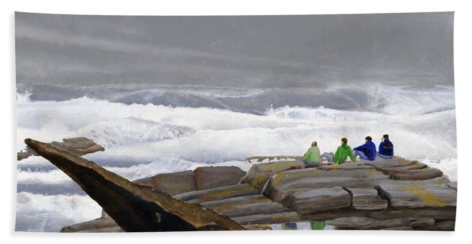 Waves Bath Towel featuring the painting The Wave Watchers by Dominic White
