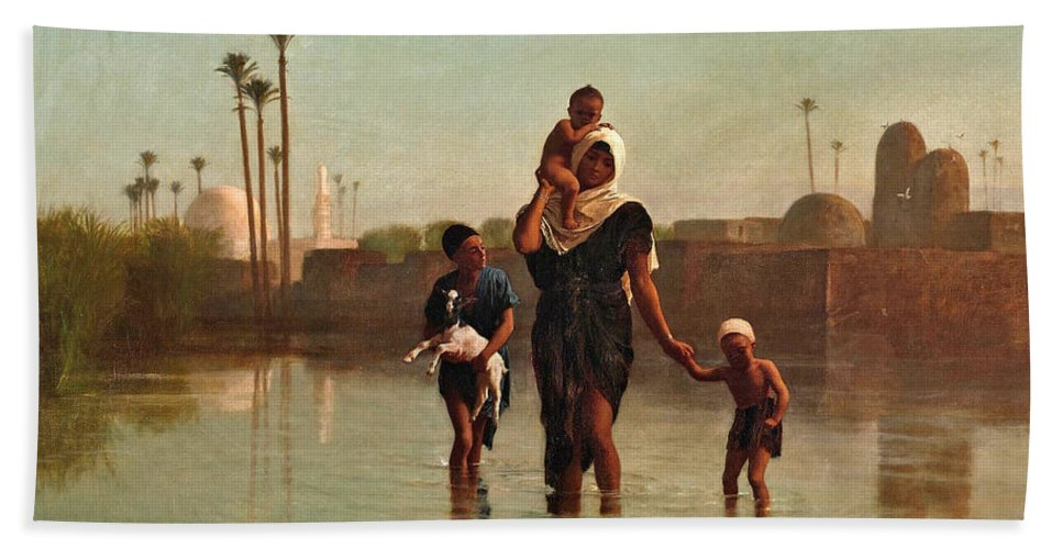 Frederick Goodall Bath Sheet featuring the painting The Way From The Village. Time Of Inundation. Egypt by Frederick Goodall