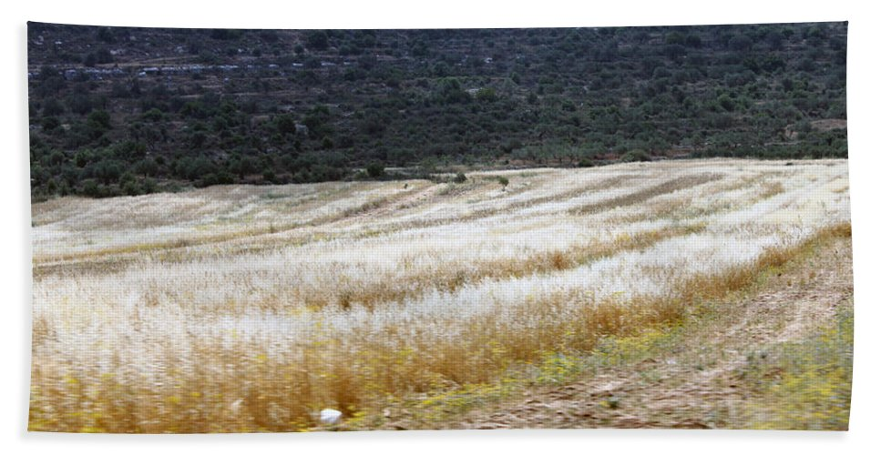 Landscape Hand Towel featuring the photograph The Way To Nablus City by Munir Alawi