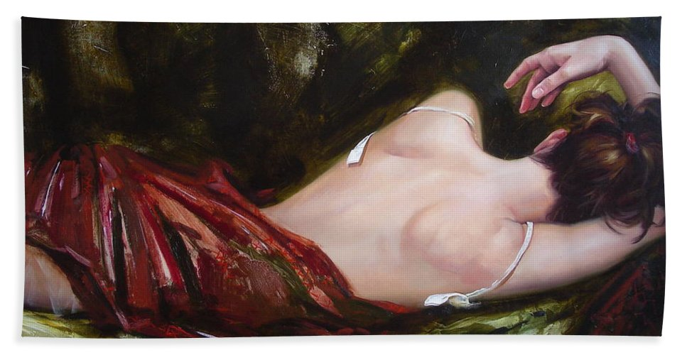 Art Bath Towel featuring the painting The Weariness by Sergey Ignatenko