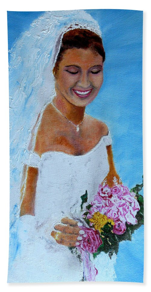 Wedding Hand Towel featuring the painting the wedding day of my daughter Daniela by Helmut Rottler