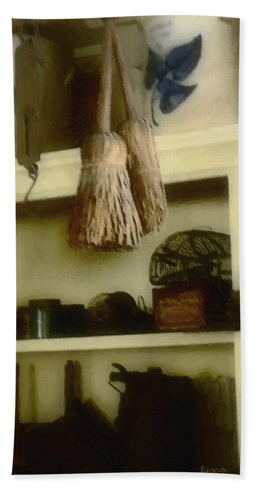 Antiques Bath Towel featuring the digital art The Well Equipped Pantry by RC DeWinter