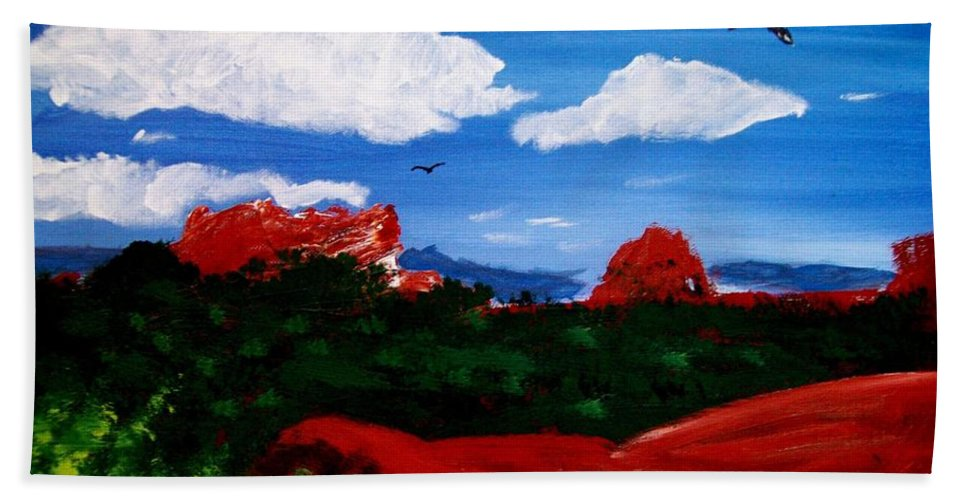 Acrylic Hand Towel featuring the painting The West by Michael Grubb