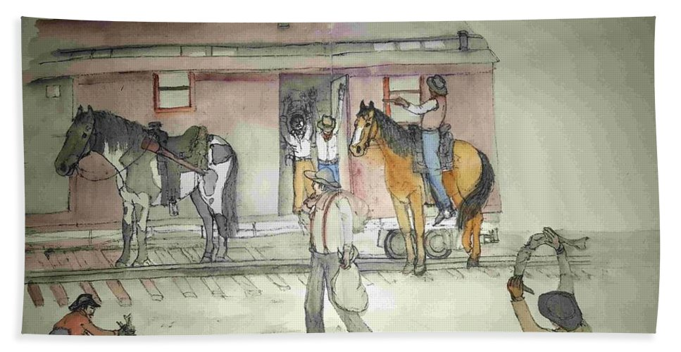 Western. Train. Robbery. Horses. Bath Sheet featuring the painting The West. Wild And Women by Debbi Saccomanno Chan