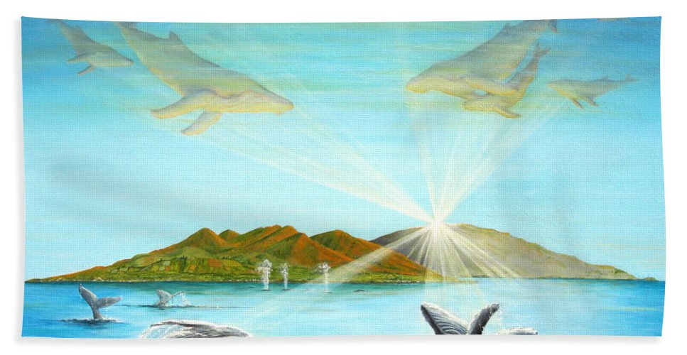 Whales Bath Sheet featuring the painting The Whales Of Maui by Jerome Stumphauzer