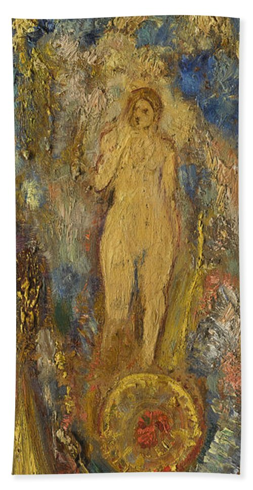 Odilon Redon Bath Sheet featuring the painting The Wheel Of Fortune by Odilon Redon