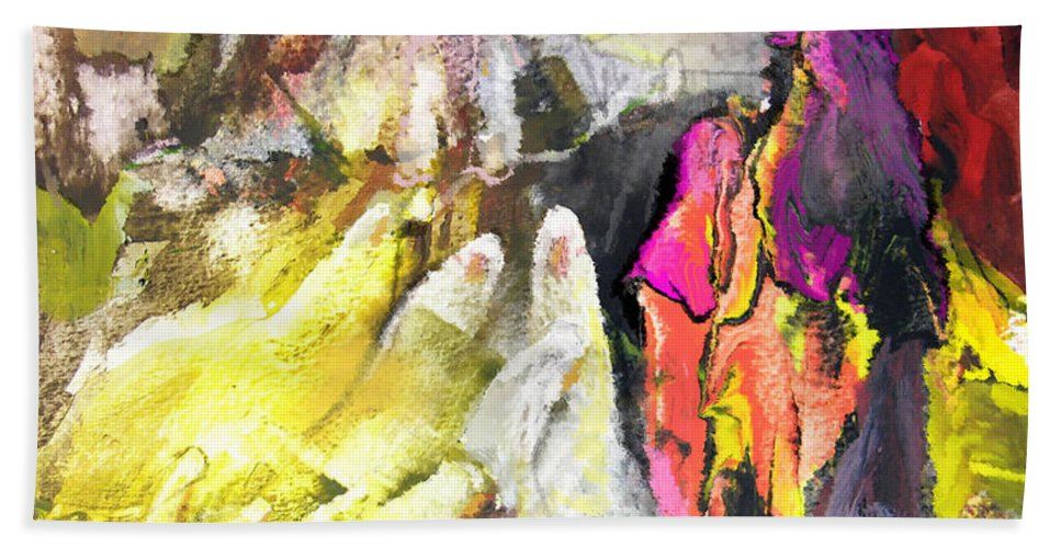 Fantasy Hand Towel featuring the painting The White Wall by Miki De Goodaboom