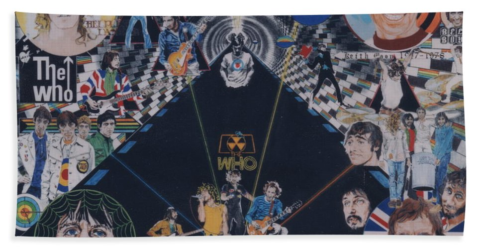 Pete Townshend;roger Daltrey;john Entwistle;keith Moon;quadrophenia;opera;story;four;music;guitars;lasers;mods;rockers;london;brighton;1964 Bath Sheet featuring the drawing The Who - Quadrophenia by Sean Connolly