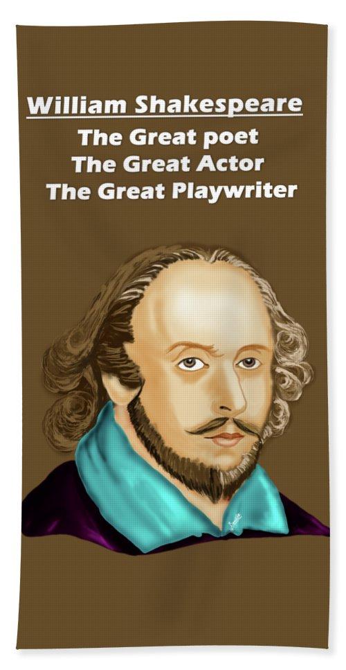 William Shakespeare Bath Sheet featuring the digital art The William Shakespeare by Artist Nandika Dutt