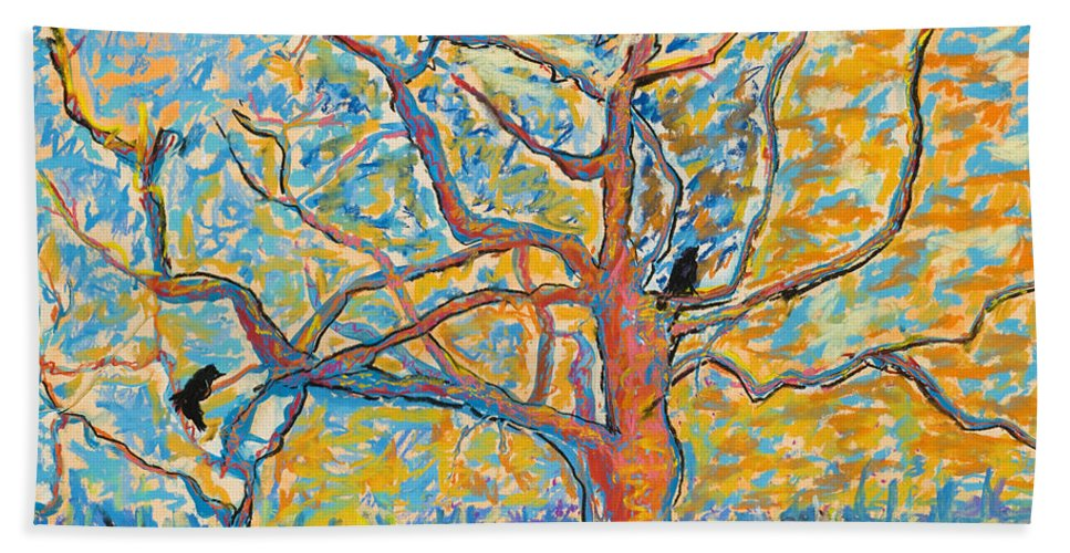 Abstract Painting Bath Towel featuring the mixed media The Wind Dancers by Pat Saunders-White