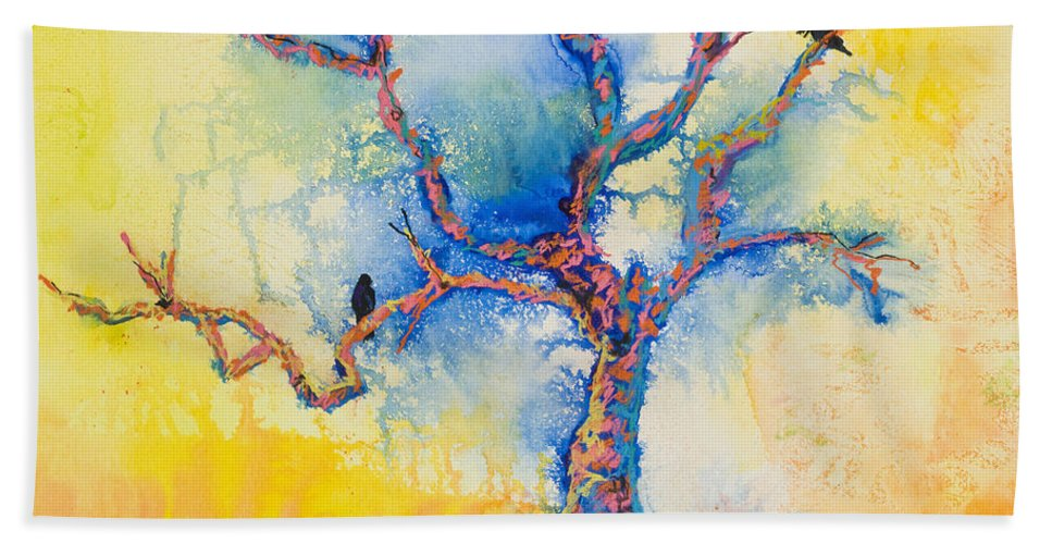 Abstract Painting Bath Towel featuring the mixed media The Wind Riders by Pat Saunders-White