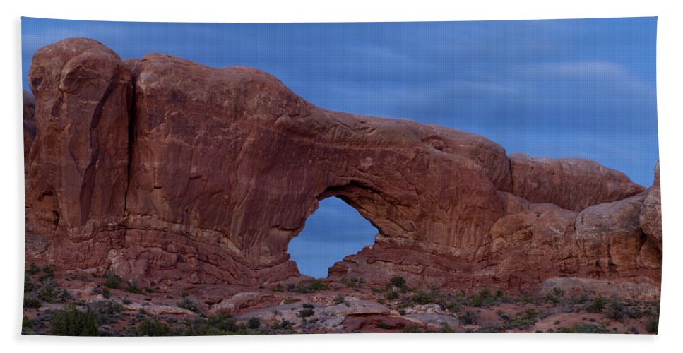Window Bath Sheet featuring the photograph The Window At Arches N.p. After Dark by Gary Langley