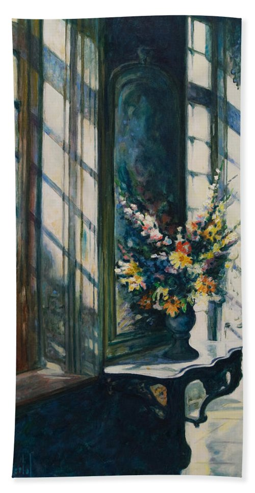 Window Bath Towel featuring the painting The Window by Rick Nederlof