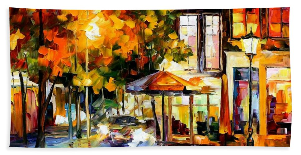 Afremov Bath Sheet featuring the painting The Windows Of Amsterdam by Leonid Afremov