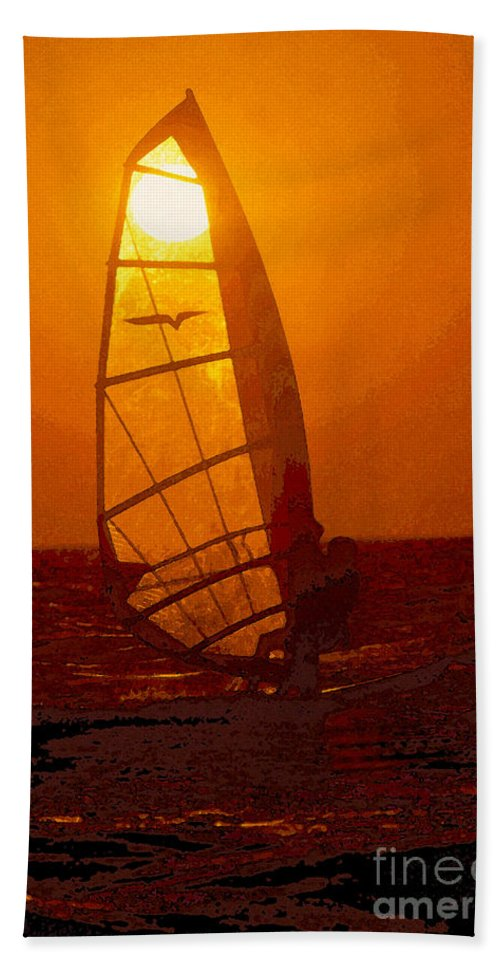 Windsurfing Bath Sheet featuring the painting The Windsurfer by David Lee Thompson