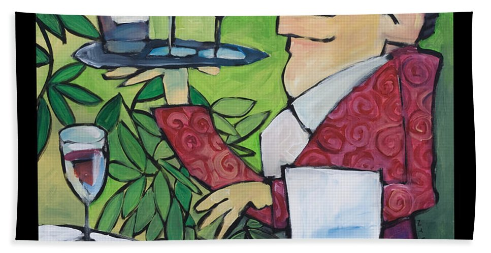 Wine Hand Towel featuring the painting The Wine Steward - Poster by Tim Nyberg