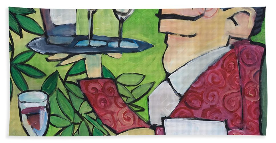 Wine Bath Towel featuring the painting The Wine Steward by Tim Nyberg