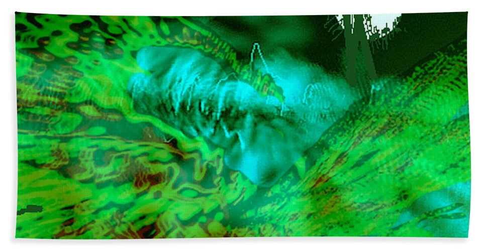 Compullage� Hand Towel featuring the digital art The Winged Terror Of Titicaca by Seth Weaver
