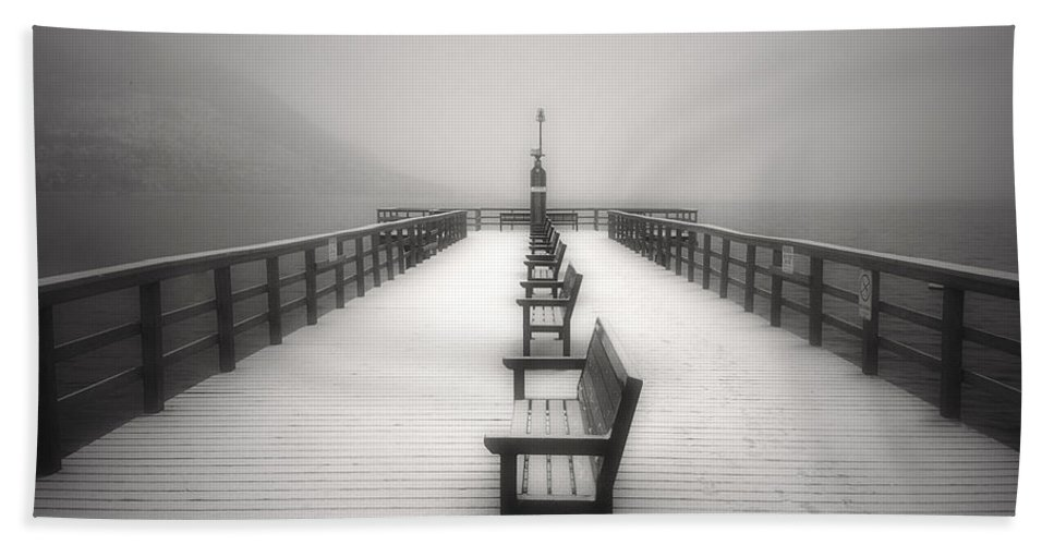 Okanagan Hand Towel featuring the photograph The Winter Pier by Tara Turner