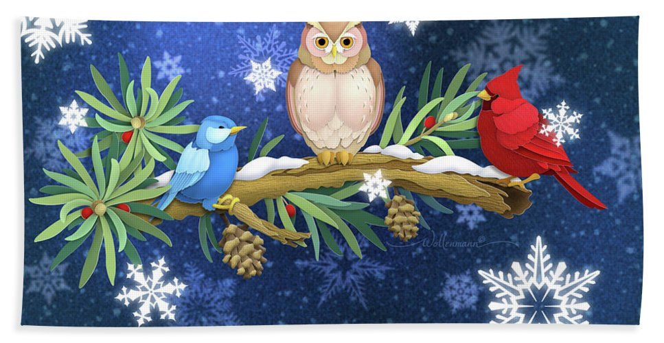 Birds Hand Towel featuring the digital art The Winter Watch by Randy Wollenmann