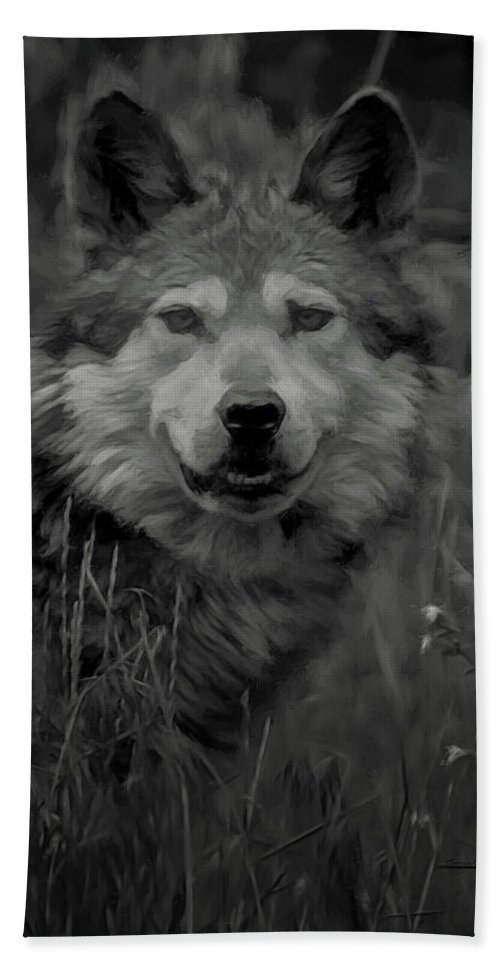 Wolf Bath Towel featuring the digital art The Wolf Bw by Ernie Echols