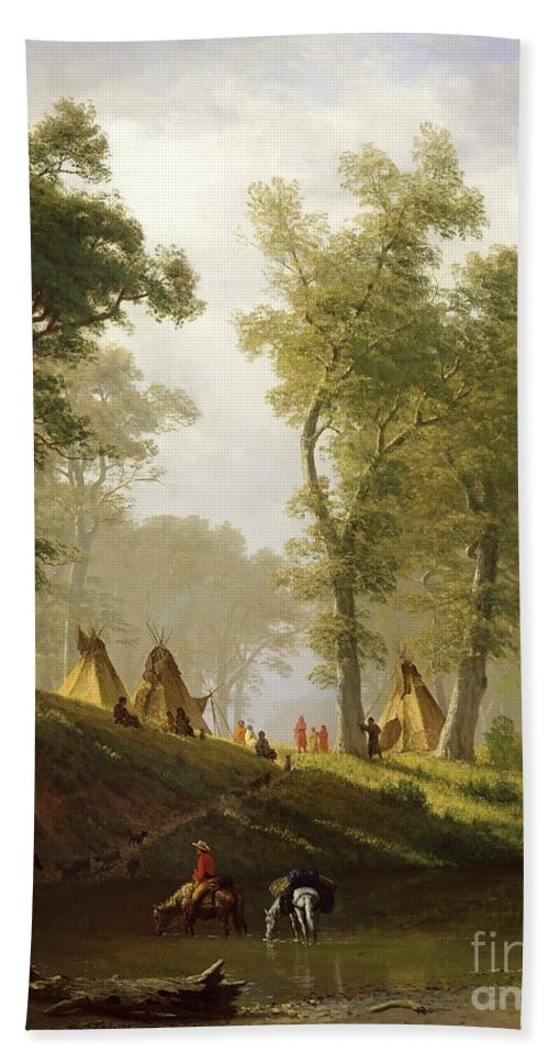The Bath Towel featuring the painting The Wolf River - Kansas by Albert Bierstadt
