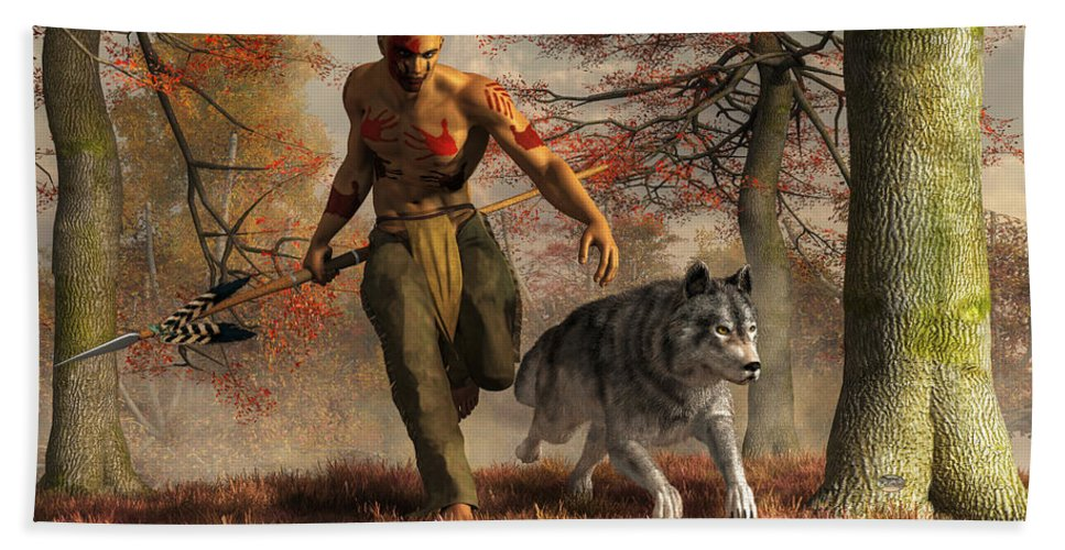 Wolf Teaching Man To Hunt Bath Towel featuring the digital art The Wolf Teaching Man To Hunt by Daniel Eskridge