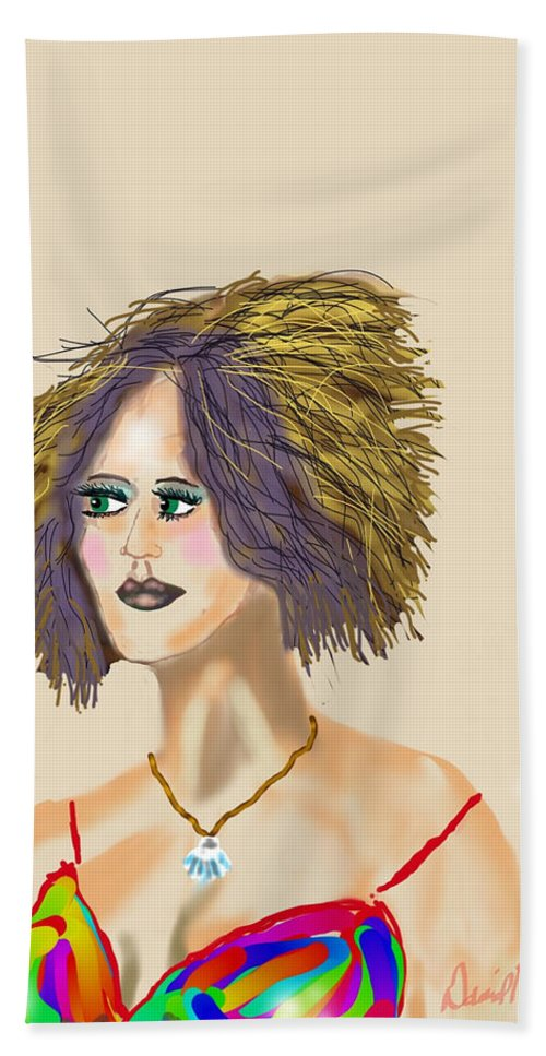 Color Big Hair Chopped Shell Necklace Spaghetti Straps Bath Sheet featuring the digital art The Woman With Purple Hair by David R Keith