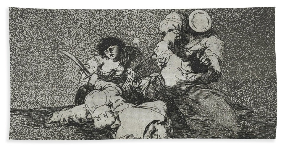 Francisco Goya Bath Sheet featuring the relief The Women Give Courage From The Series The Disasters Of War by Francisco Goya