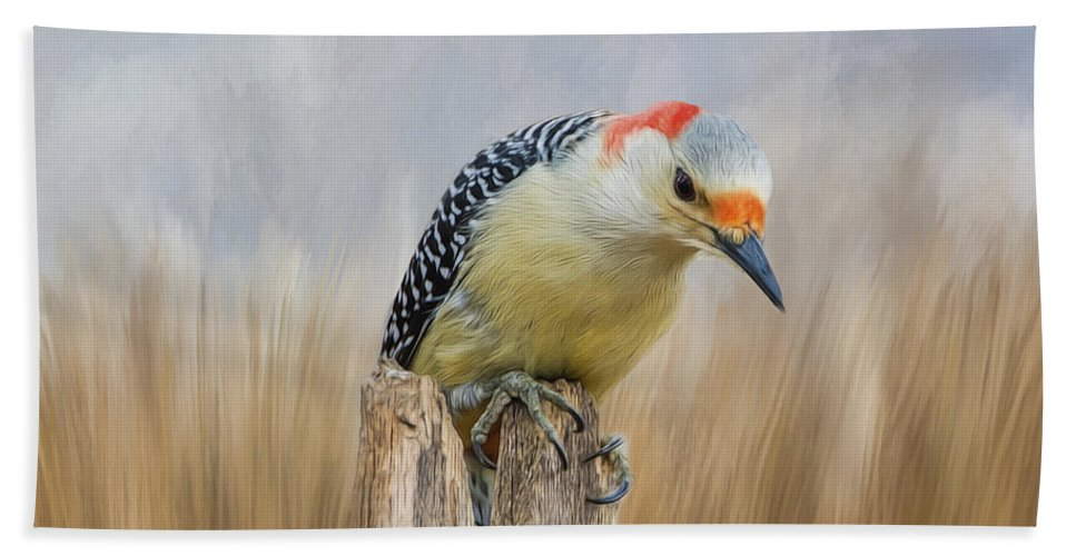 Woodpecker Hand Towel featuring the photograph The Woodpecker by Cathy Kovarik